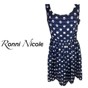 Ronni Nicole Navy White Polka Dot Layered Dress 12